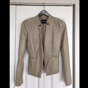 Express Faux Leather Blazer Jacket Tan SMALL